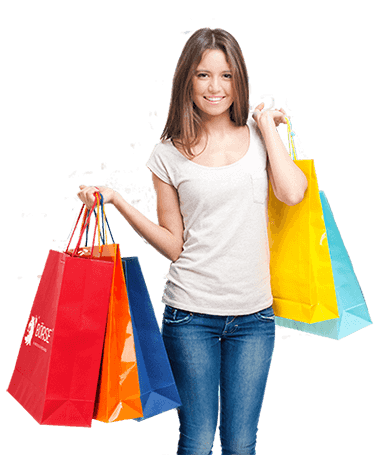 Girl holding a series of shopping bags PlusPng.com  - Girl With Shopping Bags PNG