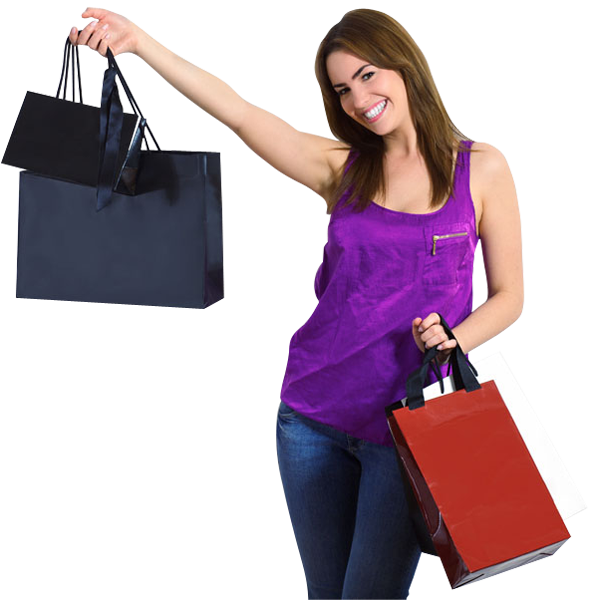 Happy Girl PNG Image - Girl With Shopping Bags PNG