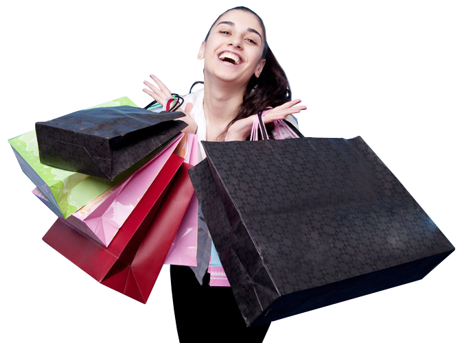 Happy girl with shopping bag - Girl With Shopping Bags PNG