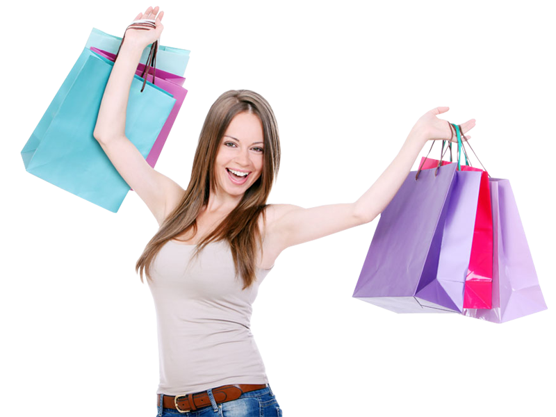 Girl With Shopping Bags PNG - 161905