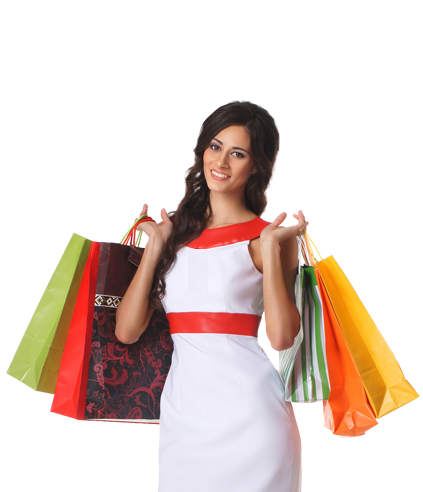 Quality will be for you, what you want it to be. - Girl With Shopping Bags PNG