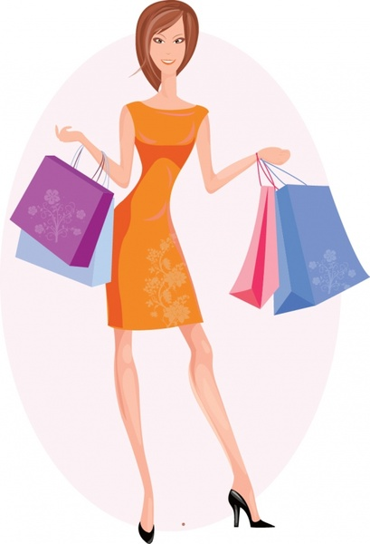 Shopping bag vector free vector download (2,122 Free vector) for commercial  use. format: ai, eps, cdr, svg vector illustration graphic art design - Girl With Shopping Bags PNG