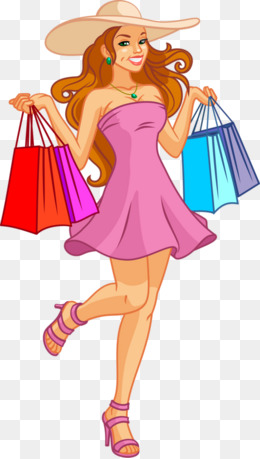 Girl With Shopping Bags PNG - 161913