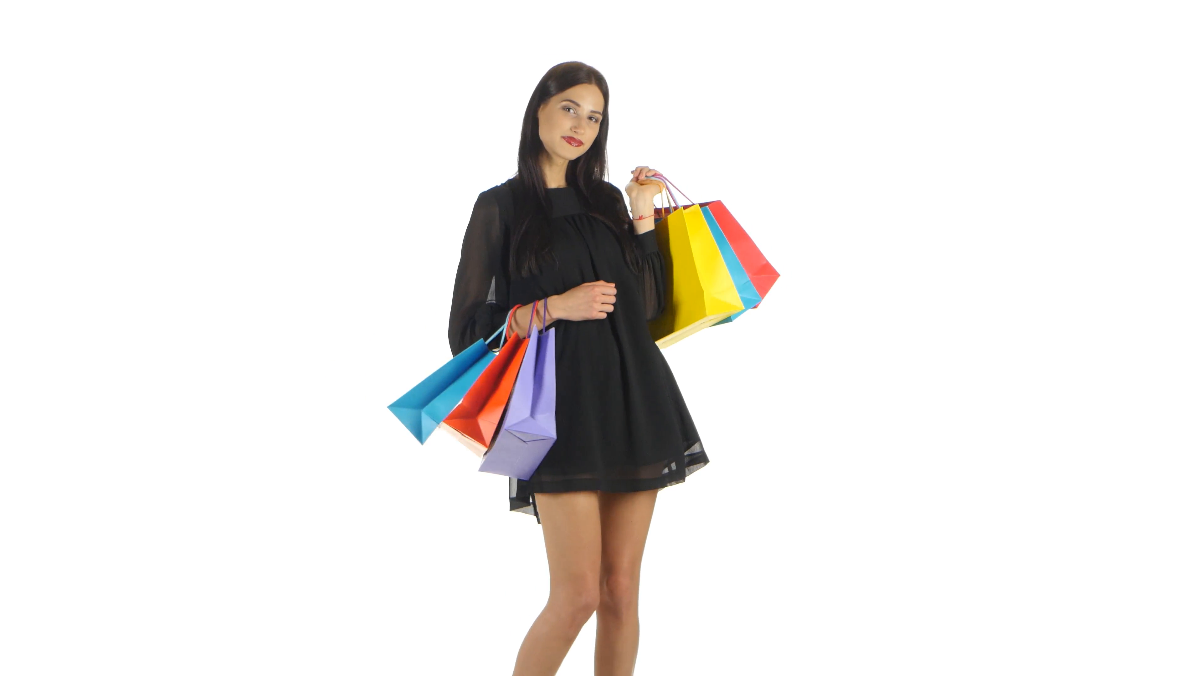 Shopping woman holding shopping bags. White Stock Video Footage -  VideoBlocks - Girl With Shopping Bags PNG