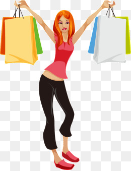 woman carrying bag, Vector, Color, Long Hair PNG and Vector - Girl With Shopping Bags PNG