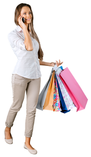 Woman Walking with Shopping Bags - Girl With Shopping Bags PNG