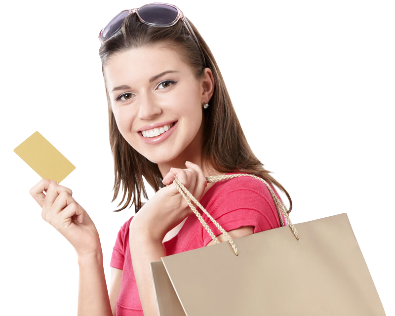 Young Girl holdind shopping bags and credit card - Girl With Shopping Bags PNG