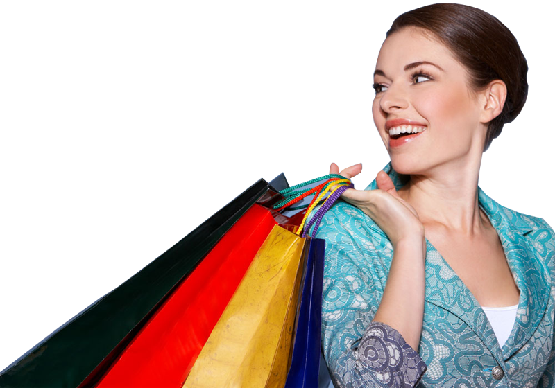 Young woman with colorful shopping bags - Girl With Shopping Bags PNG