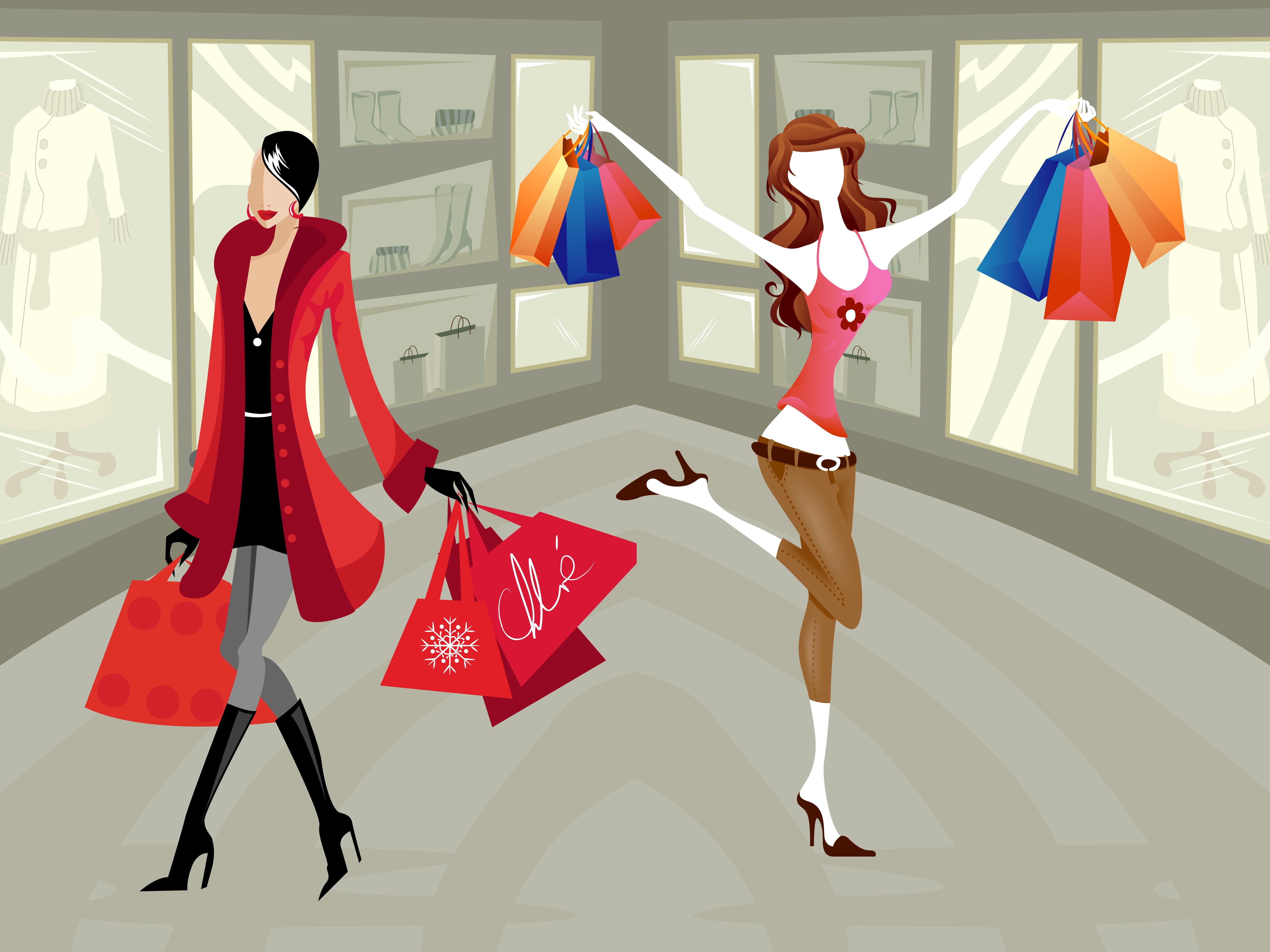 Shopping Hd Wallpapers - Girls Shopping PNG HD