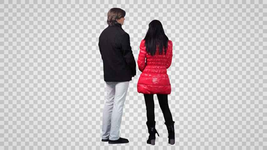 Standing man u0026 young woman talk each other. Back view (on alpha matte) - Girls Shopping PNG HD