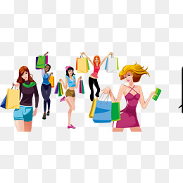 Vector Shopping girl, Double Eleven, Shopping, Girls PNG and Vector - Girls Shopping PNG HD