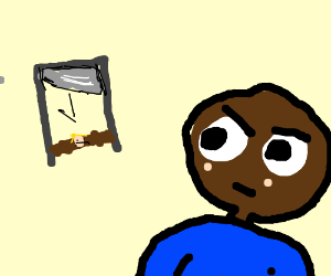 black guy staring at a guy under a giutine - Giutine PNG