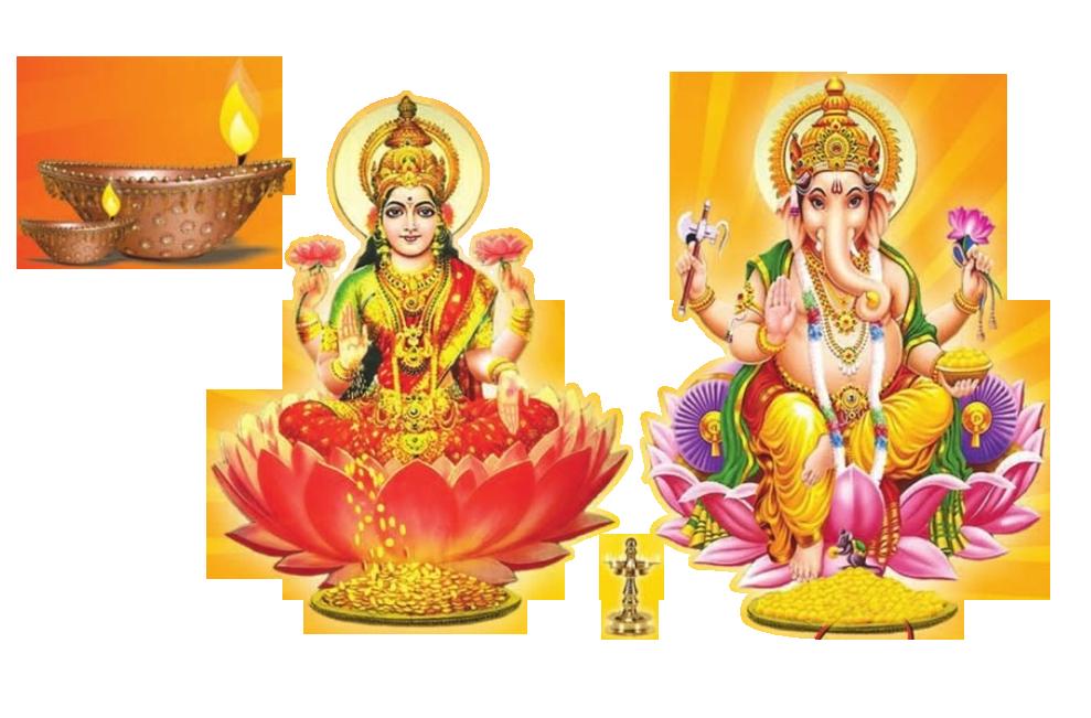 God laxmi ganesh Diwali design elements. Resolution: 989 x 651 - Lakshmi PNG