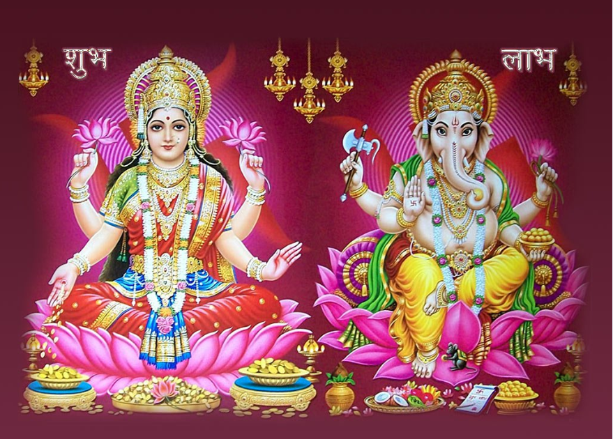 Goddess Lakshmi with God Ganesha Shubh Labh Dewali Photos - Goddess HD PNG