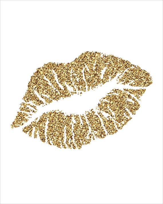 glitter lips kiss black clipart - Gold Glitter Heart PNG