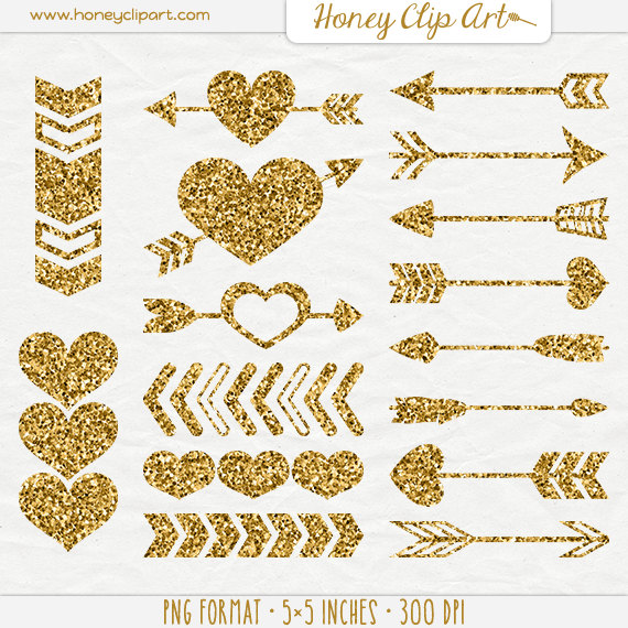 Gold Digital Hearts and Wedding Arrows - Gold Glitter Heart Clip Art -  Tribal Gold Glitter Arrow Clipart - Aztec Valentine - Love Graphics - Gold Glitter Heart PNG