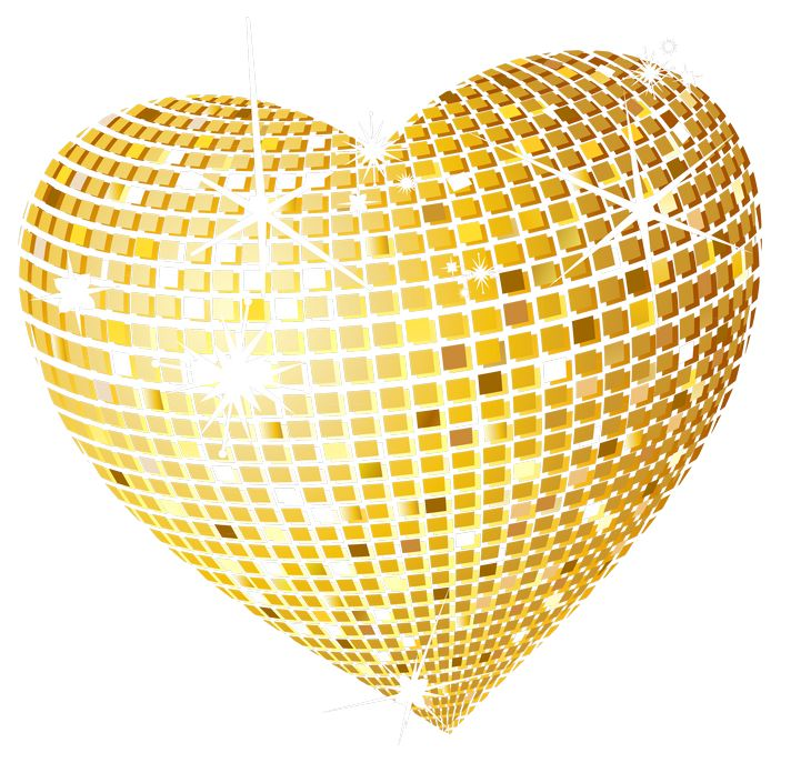 Gold Disco Heart PNG Clipart Picture - Gold Glitter Heart PNG