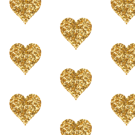 Gold Glitter Heart fabric and wallpaper on white. Contact me for custom  colors! amy - Gold Glitter Heart PNG
