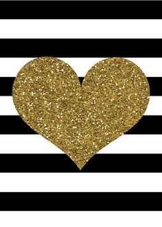 Gold Glitter Heart Print; Black and White Stripes; Valentineu0027s Day Print;  DIY Printable - Gold Glitter Heart PNG