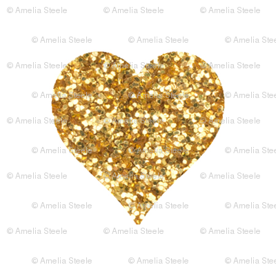 Gold Glitter Hearts Baby Fabric - Gold Glitter Heart PNG
