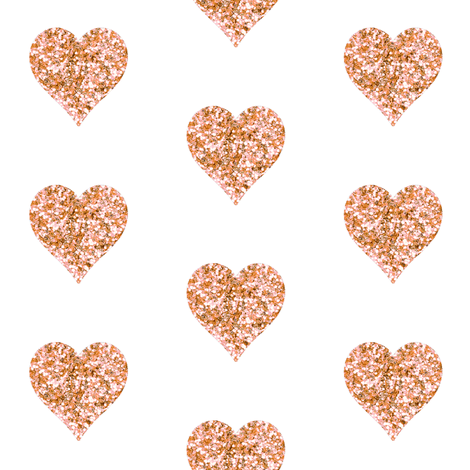 Rose Gold Glitter Hearts fabr