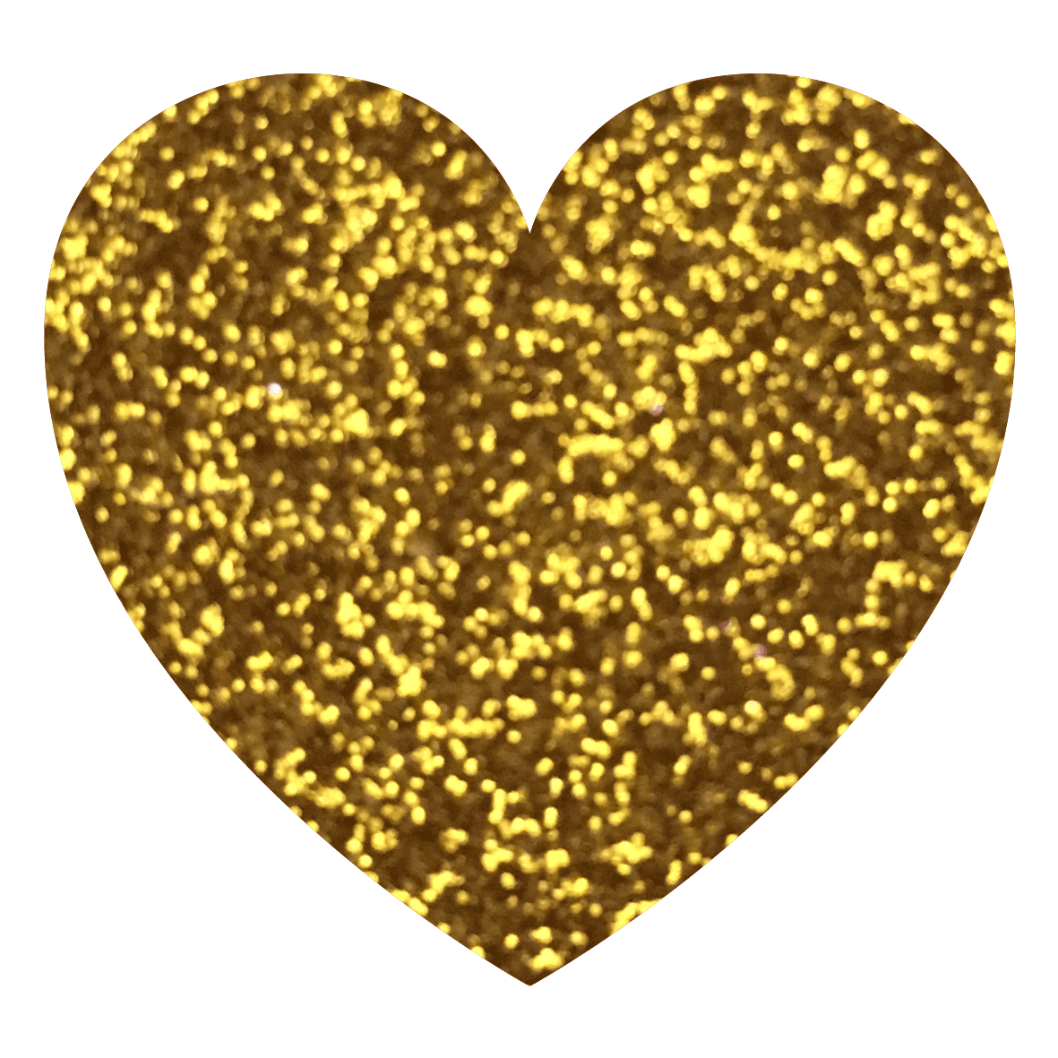 Yellow Gold - Gold Glitter Heart PNG