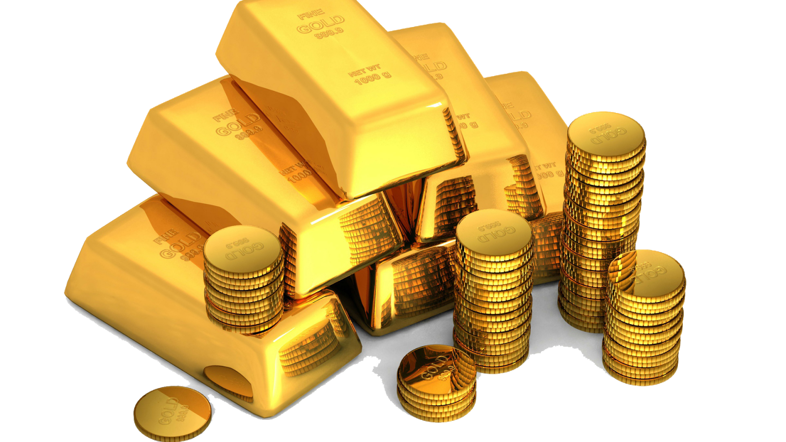 gold_bullion_coins_white_background_money_80253_1920x1080 - Gold HD PNG