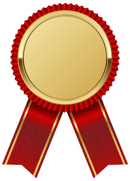 Gold Medal with Red Ribbon PNG Clipart Image - Ribbon PNG