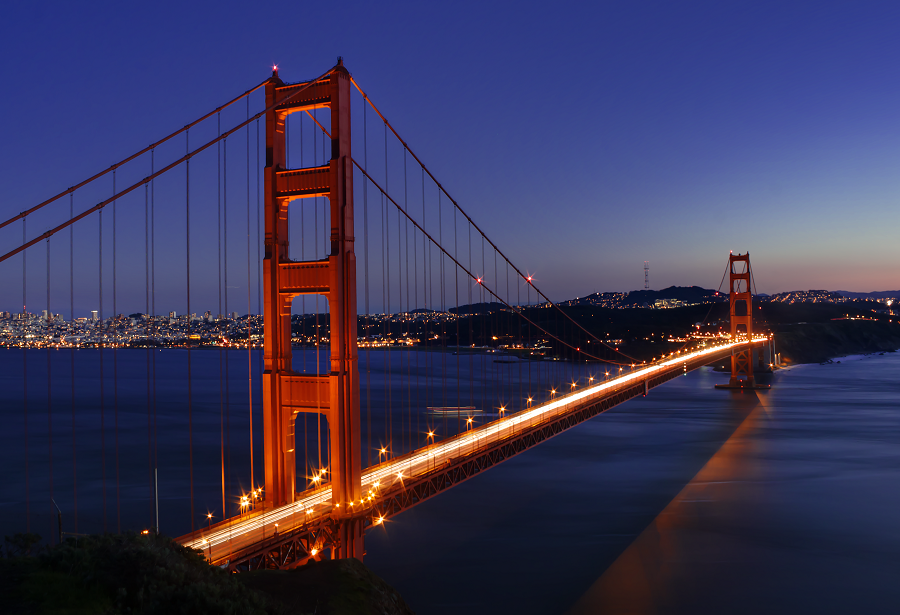 Golden Gate Bridge At Twilight by LILYFlowerr PlusPng.com  - Golden Gate Bridge PNG HD