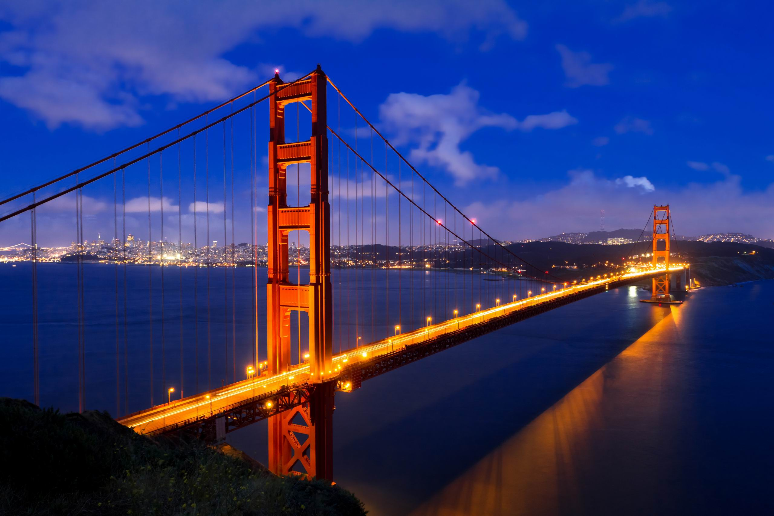 Golden Gate Bridge Night Wallpaper High Definition - Golden Gate Bridge PNG HD