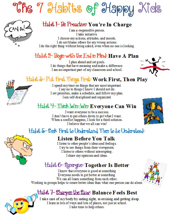 Confessions of a School Counselor: 7 Habits Poster | Kids | Pinterest |  Open house night, School counselor and Open house - Good Habits For Kids PNG