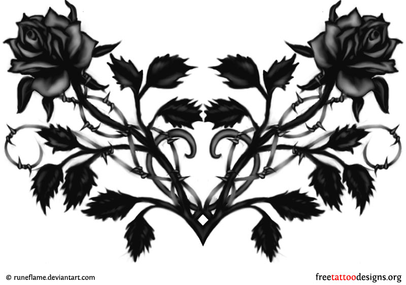 Black rose and heart tattoo design (ideal for the lower back) PlusPng.com  - Gothic Tattoos PNG