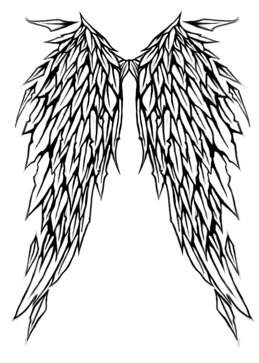 Simple Wing Tattoo Stencil | angel wings tattoo design by natzs101 designs  interfaces tattoo design . - Gothic Tattoos PNG