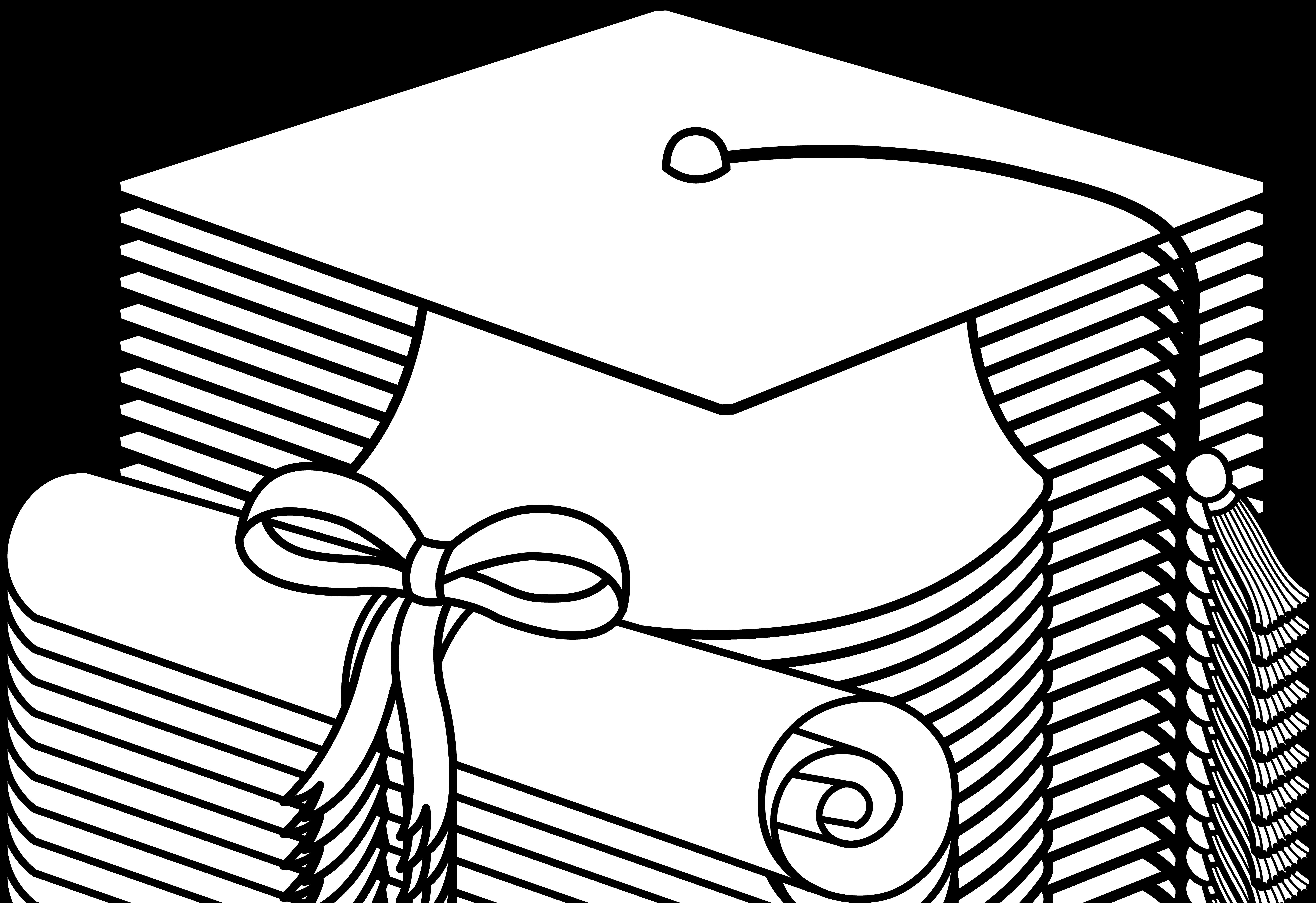 Flying Graduation Caps Clip Art - Graduation Cap PNG Black And White