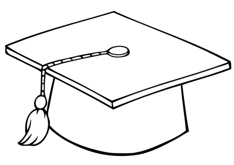 Graduate Cap coloring page - Graduation Cap PNG Black And White