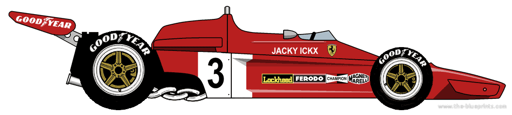 Ferrari 312B3 Formula One Grand Prix car (1973) - Grand Prix PNG