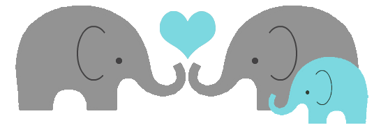 elephant family baby heart png - Gray Baby Elephant PNG