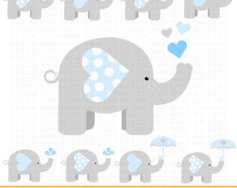 Girl Baby Elephant Clip Art Digital clipart by PeachAndMint - Gray Baby Elephant PNG