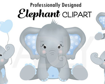 Gray Elephant Clipart, Baby Blue and grey peanut clip art, png file. Nursery - Gray Baby Elephant PNG