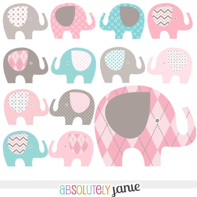 Pink Grey Teal Blue Baby Elephant Digital Clipart Girly Clip Artblue -  Clipart Suggest - Gray Baby Elephant PNG