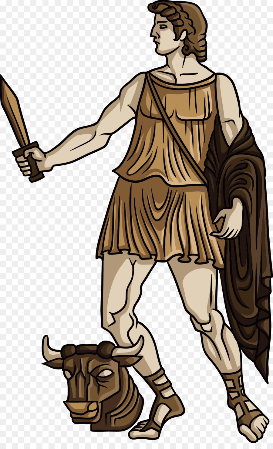Theseus Ancient Greece Greek mythology Heracles Illustration - The man with  the dagger - Greek Mythology PNG HD