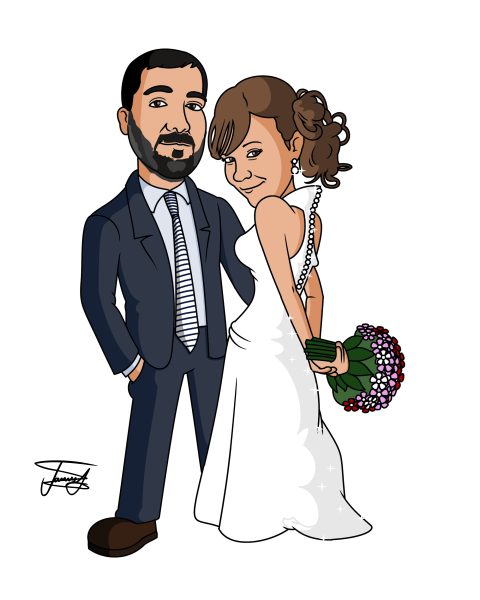 Bride And Groom Cartoon Image