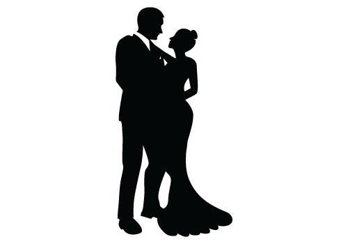Bride and Groom Silhouette Free - Groom PNG HD