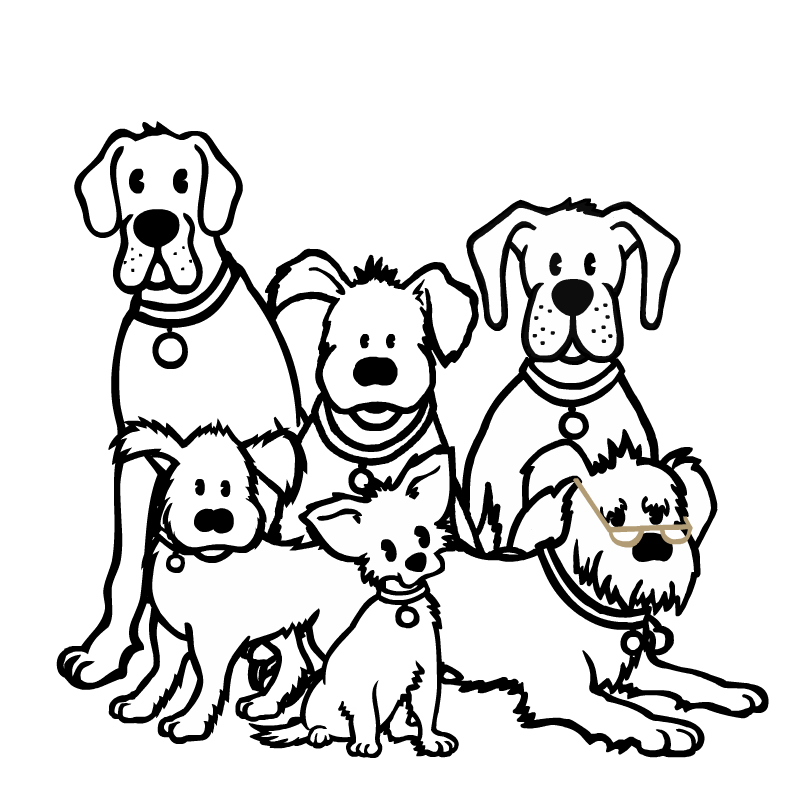 £3.25 PlusPng.com  - Group Of Dogs PNG Black And White