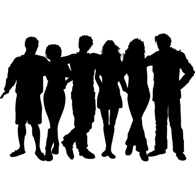 Vector silhouettes group of Friends illustration | Free Vector Gallery |  Free Vector Download - Group Of Friends PNG HD