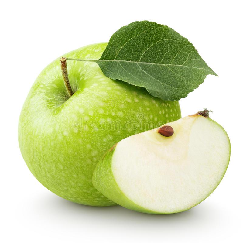 Download Grüner Apfel Mit Blatt Und Scheibe Lokalisiert Auf Einem Weiß  Stockfoto - Bild von apfel - Gruner Apfel PNG
