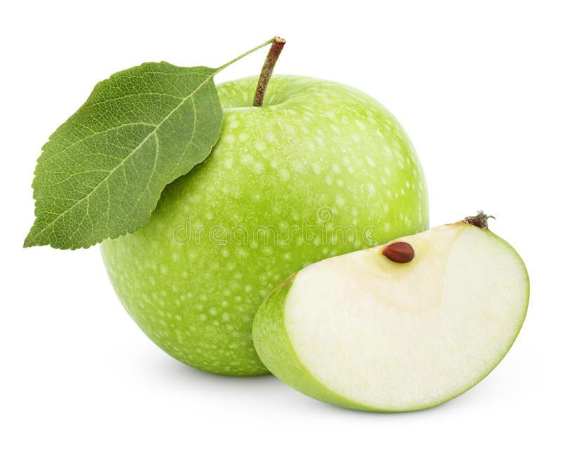 Download Grüner Apfel Mit Blatt Und Scheibe Lokalisiert Auf Einem Weiß  Stockfoto - Bild von teil - Gruner Apfel PNG