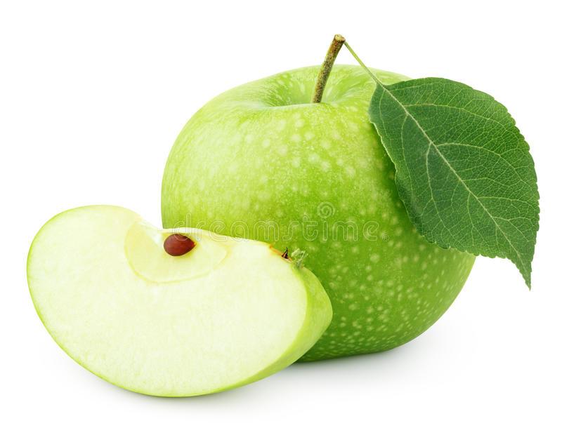 Download Grüner Apfel Mit Blatt Und Scheibe Lokalisiert Auf Weiß Stockbild  - Bild von diät, - Gruner Apfel PNG