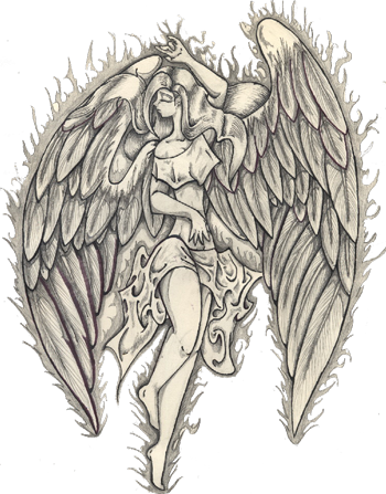Angel Tattoos PNG Photo 164x210 - Angel Tattoos PNG Transparent Free Images - Guardian Angel PNG HD