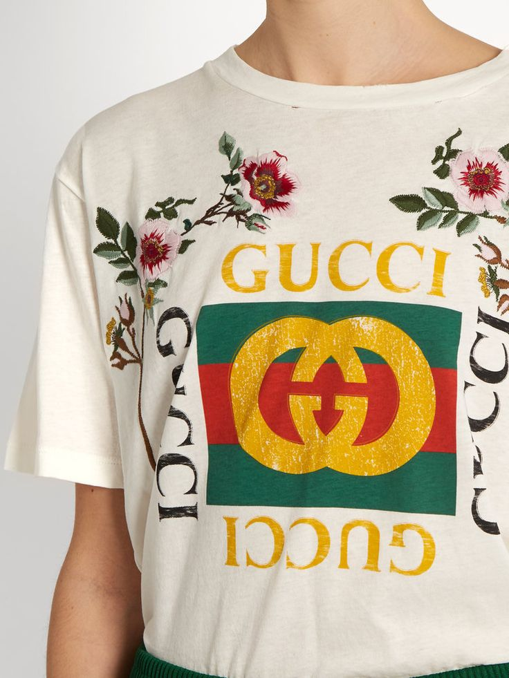 Gucci Distressed And Embroidered Logo T-shirt - Gucci Logo Eps PNG